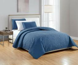 3pc Solid Blue Embossed Floral Medallion Oversized Quilt Cov