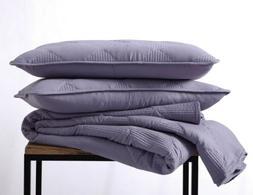 3pc Washed Microfiber Diamond Channel Stitch Quilt Bedspread