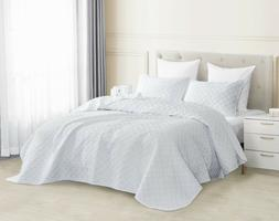 3pc White Quilted Coverlet Set Aspect Bedspread Stone-Washed