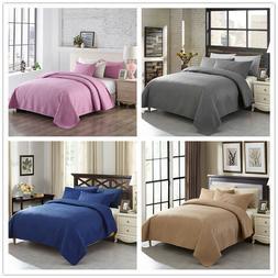 3PCS Embossed Basket Weave Quilts Set Bedspreads Coverlets S