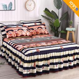 3pcs Floral Fitted Sheet Cover Graceful <font><b>Bedspread</