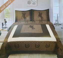 3pcs Queen Size Printed Cowboy Horse BedSpread Quilt Set