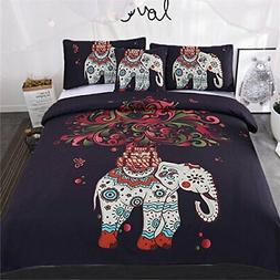 Sleepwish 4 pcs Bohemian Bedspread Ethnic Elephant Tree