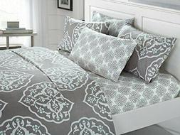 Chic Home 4 Piece Marquis Two-Tone Medallion Print Pattern T