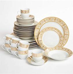 Brylanehome 40-Pc. Golden Ceramic Dinnerware Set