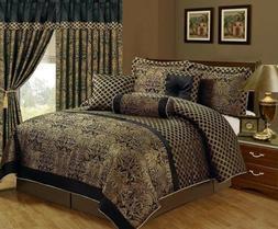 7 Piece Comforter Royal Jacquard Bedspread Floral Bedding Lu