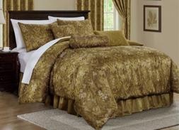 7-Piece Gold Jacquard Woven Floral Motif Comforter Set  or W