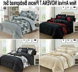 7 Pieces Comforter Jacquard Bedspread Quilted Bed Cover Doub