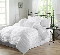 Chezmoi Collection 7pc Shabby Chic Ruffled Duvet Cover Set W