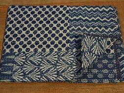 Tribal Asian Textiles Indigo Color Hand Block Printed Kantha