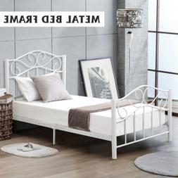 Twin Size Metal Bed Frame Mattress Foundation w/ Headboard a