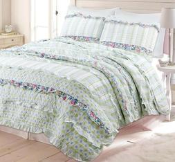 Adalyn Ruffle Lace 100%Cotton Reversible Quilt Set, Bedsprea