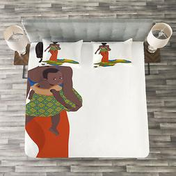 African Woman Quilted Bedspread & Pillow Shams Set, Mother B