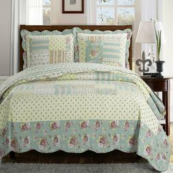 Annabel Luxury Quilted Coverlets 3 Piece Floral Sweet Home Q