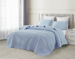 Attitude Quilted Bedspread Set Light Blue Square Stitch patt