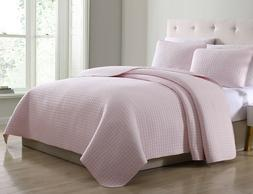 Attitude Quilted Bedspread Set Rose Pink Square Stitch patte