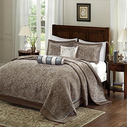 Aubrey 5 Piece Jacquard Bedspread Set Blue Queen