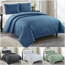 Chezmoi Collection Auburn 3-Piece Modern Quilted Solid Bedsp