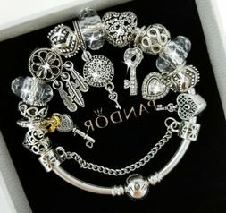 Authentic PANDORA Bracelet Silver with KEY TO MY HEART Europ