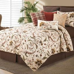 Autumn Bloom Queen or King 3 Pc Quilt Set-Botanical Quilted
