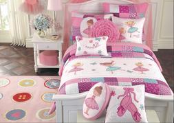 Ballerina Girls Reversible Cotton Quilt Set, Bedspreads, Cov