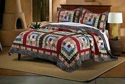 BEAUTIFUL LOG CABIN LODGE COUNTRY BLUE RED BROWN SOUTHWEST C