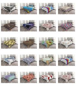 Ambesonne Bed Coverlet Set Quilted Decorative for Bedspread