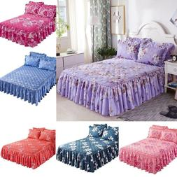 Bed Skirts Set Bedspread Floral Printed Cotton Bed Cover Dou