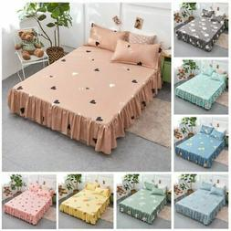 Bedding Flower Printed Single Layer Bed Skirts Flat Sheet Be