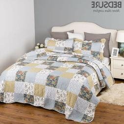 Bedsure Bedding Quilt Set Luxury Bedroom Bedspread Plaid Flo