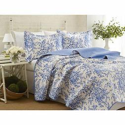 Laura Ashley Bedford Cotton Reversible Quilt Set, Twin