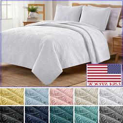 VEEYOO Bedspread Coverlet Quilt 3-Piece Set Luxury Bedding C