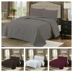 Bedspread Coverlet Quilt Set & Pillowcase Embossed Reversibl