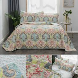 Bedspread Coverlet Set Printed Floral Quilt Pillowcase Micro