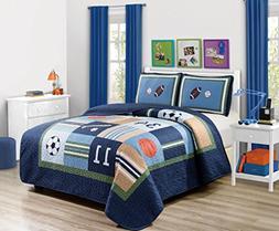 Fancy Linen 3pc Full Size Bedspread Quilt Sport Kids Teens B