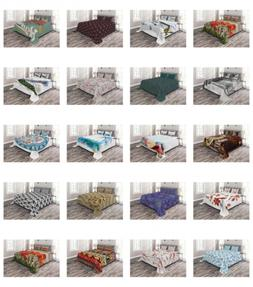 Ambesonne Bedspread Set with 2 Shams Decorative Printed 3 Pi