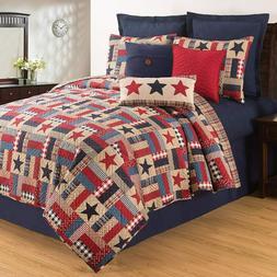 Bennington Americana Red,Blue,White+Khaki 3 Pc Quilt Set-Kin