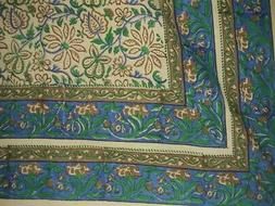 """Block Print Indian Tapestry Cotton Bedspread 108"""" x 88"""" Full"""