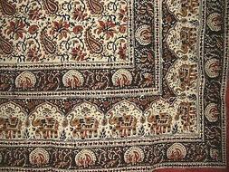 "Block Print Indian Tapestry Cotton Spread 108"" x 88"" Full/Qu"
