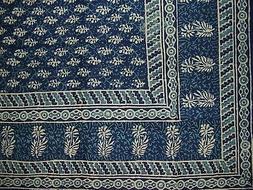 "Block Print Tapestry Cotton Spread 110"" x 72"" Twin Blue"