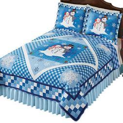 Blue Snowman Diamond Accent Patchwork Quilt