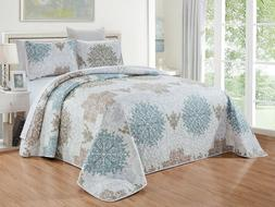 Blue White Grey Scroll Quilt Reversible CAL King Size Coverl