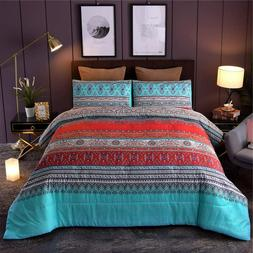 Bohemian Queen Comforter Set 3pcs Boho Chic Floral Striped Q