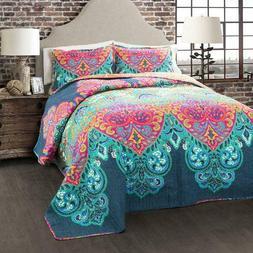 Boho Chic 3-Piece Bedding Quilt Set by Lush Decor