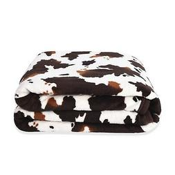 homesmart Brown Cow Print Warm Cozy Coral Fleece Throw Blank
