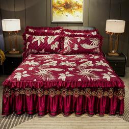 Brush Pringting Bedspread Queen Full King Qulited Lace Fitte
