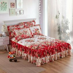 Brushed Cotton Flowers Thick Queen Ruffled Bed Skirts King Q