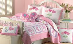 Butterfly 4-piece Reversible Cotton Quilt Set, Bedspread, Co
