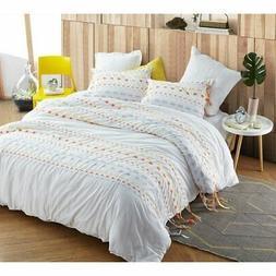 BYB Threads Textured Oversized Comforter - Gray/Yellow White