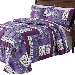 Collections Etc Caledonia Lavender Floral Patchwork Quilted